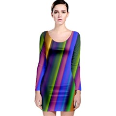 Strip Colorful Pipes Books Color Long Sleeve Bodycon Dress