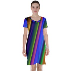 Strip Colorful Pipes Books Color Short Sleeve Nightdress
