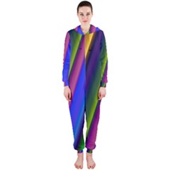 Strip Colorful Pipes Books Color Hooded Jumpsuit (ladies)