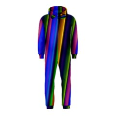 Strip Colorful Pipes Books Color Hooded Jumpsuit (Kids)