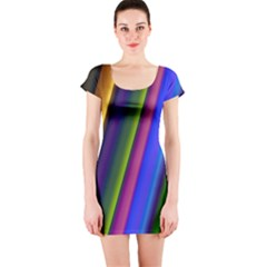 Strip Colorful Pipes Books Color Short Sleeve Bodycon Dress