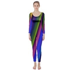 Strip Colorful Pipes Books Color Long Sleeve Catsuit
