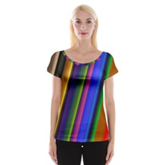 Strip Colorful Pipes Books Color Women s Cap Sleeve Top