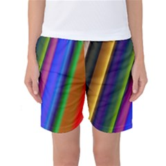 Strip Colorful Pipes Books Color Women s Basketball Shorts
