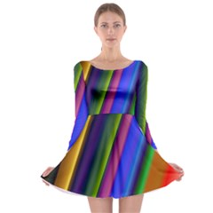Strip Colorful Pipes Books Color Long Sleeve Skater Dress