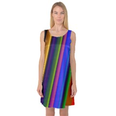 Strip Colorful Pipes Books Color Sleeveless Satin Nightdress
