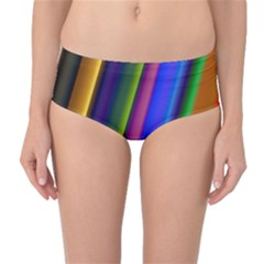 Strip Colorful Pipes Books Color Mid Waist Bikini Bottoms