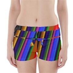 Strip Colorful Pipes Books Color Boyleg Bikini Wrap Bottoms
