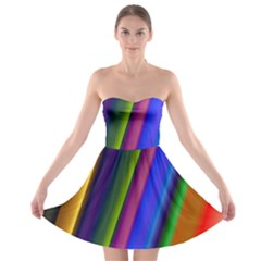 Strip Colorful Pipes Books Color Strapless Bra Top Dress