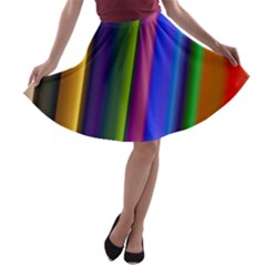 Strip Colorful Pipes Books Color A Line Skater Skirt