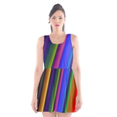 Strip Colorful Pipes Books Color Scoop Neck Skater Dress