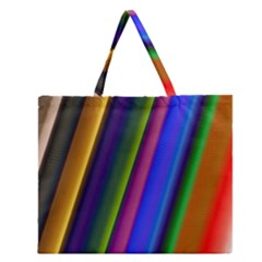 Strip Colorful Pipes Books Color Zipper Large Tote Bag