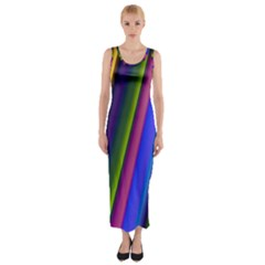 Strip Colorful Pipes Books Color Fitted Maxi Dress
