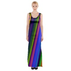 Strip Colorful Pipes Books Color Maxi Thigh Split Dress