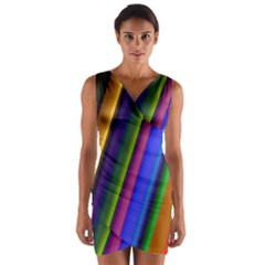 Strip Colorful Pipes Books Color Wrap Front Bodycon Dress