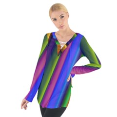 Strip Colorful Pipes Books Color Women s Tie Up Tee