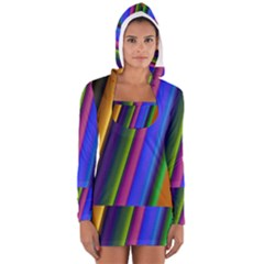 Strip Colorful Pipes Books Color Women s Long Sleeve Hooded T-shirt