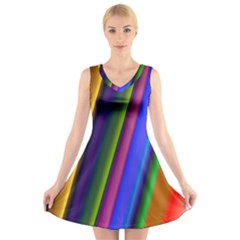 Strip Colorful Pipes Books Color V Neck Sleeveless Skater Dress