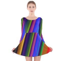 Strip Colorful Pipes Books Color Long Sleeve Velvet Skater Dress