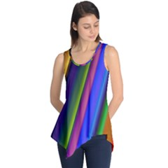 Strip Colorful Pipes Books Color Sleeveless Tunic