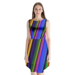 Strip Colorful Pipes Books Color Sleeveless Chiffon Dress
