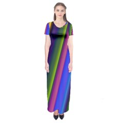 Strip Colorful Pipes Books Color Short Sleeve Maxi Dress