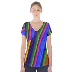 Strip Colorful Pipes Books Color Short Sleeve Front Detail Top