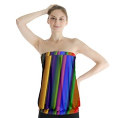 Strip Colorful Pipes Books Color Strapless Top