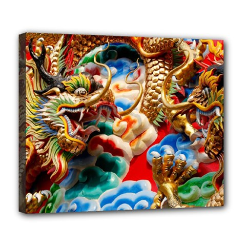 Thailand Bangkok Temple Roof Asia Deluxe Canvas 24  x 20