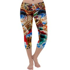 Thailand Bangkok Temple Roof Asia Capri Yoga Leggings