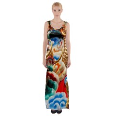 Thailand Bangkok Temple Roof Asia Maxi Thigh Split Dress