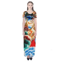 Thailand Bangkok Temple Roof Asia Short Sleeve Maxi Dress