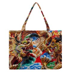 Thailand Bangkok Temple Roof Asia Medium Zipper Tote Bag