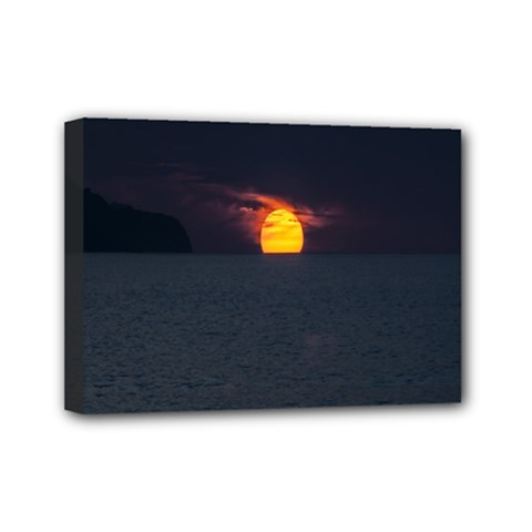 Sunset Ocean Azores Portugal Sol Mini Canvas 7  x 5