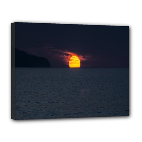 Sunset Ocean Azores Portugal Sol Canvas 14  x 11