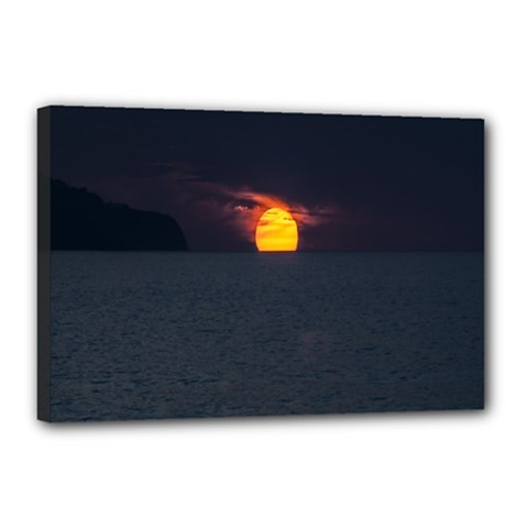 Sunset Ocean Azores Portugal Sol Canvas 18  x 12