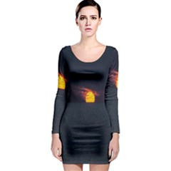 Sunset Ocean Azores Portugal Sol Long Sleeve Bodycon Dress