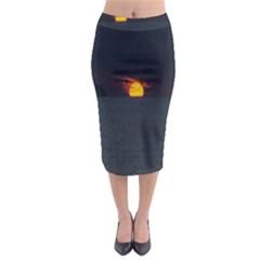Sunset Ocean Azores Portugal Sol Midi Pencil Skirt