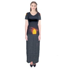 Sunset Ocean Azores Portugal Sol Short Sleeve Maxi Dress