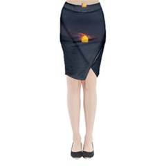 Sunset Ocean Azores Portugal Sol Midi Wrap Pencil Skirt