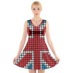 The Flag Of The Kingdom Of Great Britain V Neck Sleeveless Skater Dress