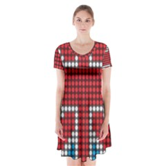 The Flag Of The Kingdom Of Great Britain Short Sleeve V-neck Flare Dress