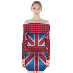 The Flag Of The Kingdom Of Great Britain Long Sleeve Off Shoulder Dress