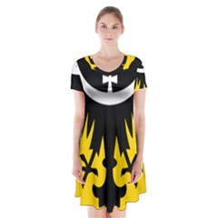 Silesia Coat of Arms  Short Sleeve V-neck Flare Dress