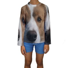Red Border Collie Kids  Long Sleeve Swimwear