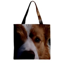 Red Border Collie Zipper Grocery Tote Bag