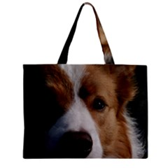 Red Border Collie Zipper Mini Tote Bag