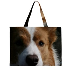 Red Border Collie Large Tote Bag