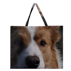 Red Border Collie Zipper Large Tote Bag
