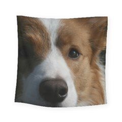 Red Border Collie Square Tapestry (Small)